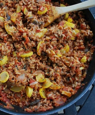 Italian-Pork-and-Brown-Rice-Skillet