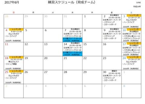 2017年6月スケジュール(育成チーム)