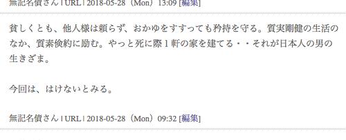 個人社債ウォッチ コメント「貧しくとも、他人様は頼らず、おかゆをすすっても矜持を守る。質実剛健の生活のなか、質素倹約に励む。やっと死に際1軒の家を建てる・・それが日本人の男の生きざま。 今回は、はけないとみる。 無記名債さん | URL | 2018-05-28(Mon)09:32」