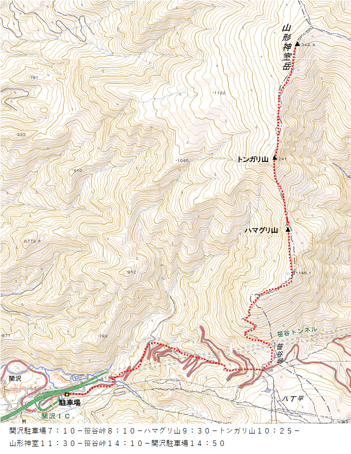 山形神室岳ルート図