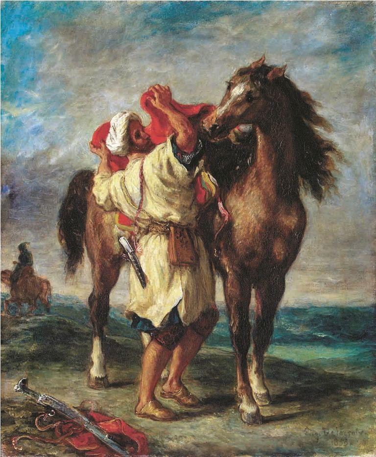 ウジェーヌ・ドラクロワ、《馬に鞍をおくアラブ人》、1855年