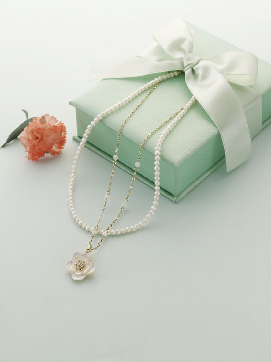 Mother's Day Gift Set(淡水パールネックレス、チェーンネックレス、ペンダントトップ、アジェスター)¥10,500