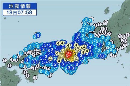 【地震】大阪などで震度6弱の地震発生、9歳女児を含む3人が死亡 「まだ油断出来ない状況」と呼びかけ