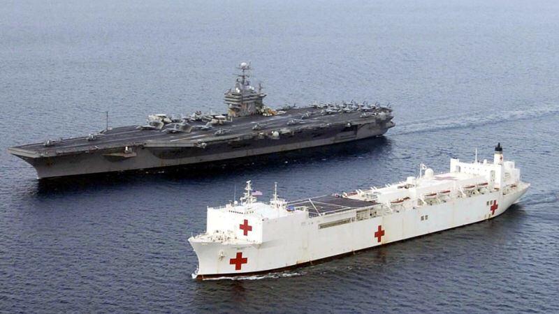 世界最大の病院船マーシーが横須賀に寄港。70000トン大和級よりもデカい。