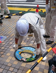 【杞憂】さくらももこの遺作ちびまる子マンホール。静岡市、悪戯されないか心配。ラブガイジと違うし