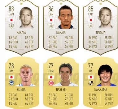 最新版FIFAの全日本人選手の評価、公開される