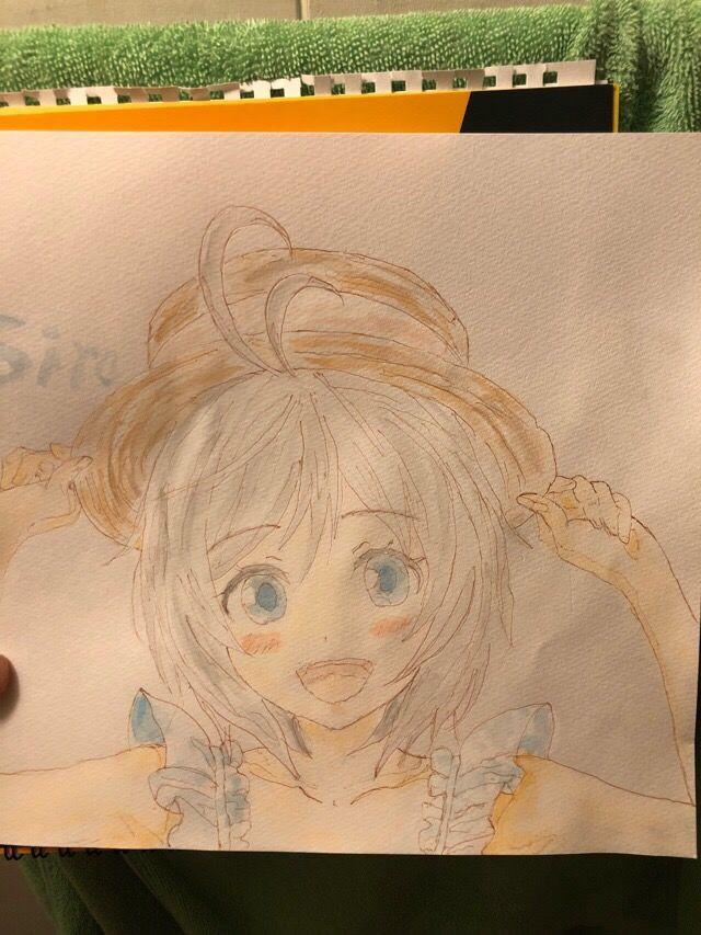 【画像】絵の具で電脳少女シロちゃんの水彩画描いてみたwwww