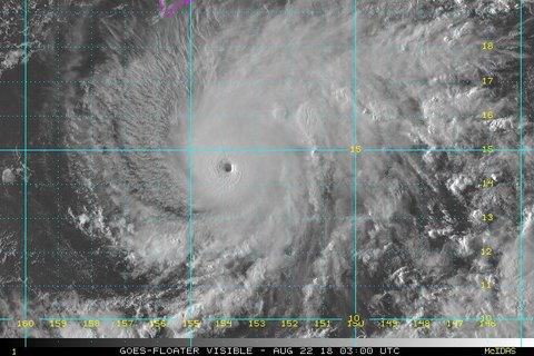 【注意】ハリケーン「レーン」が接近! 最大風速70m/s、中心気圧929hPa