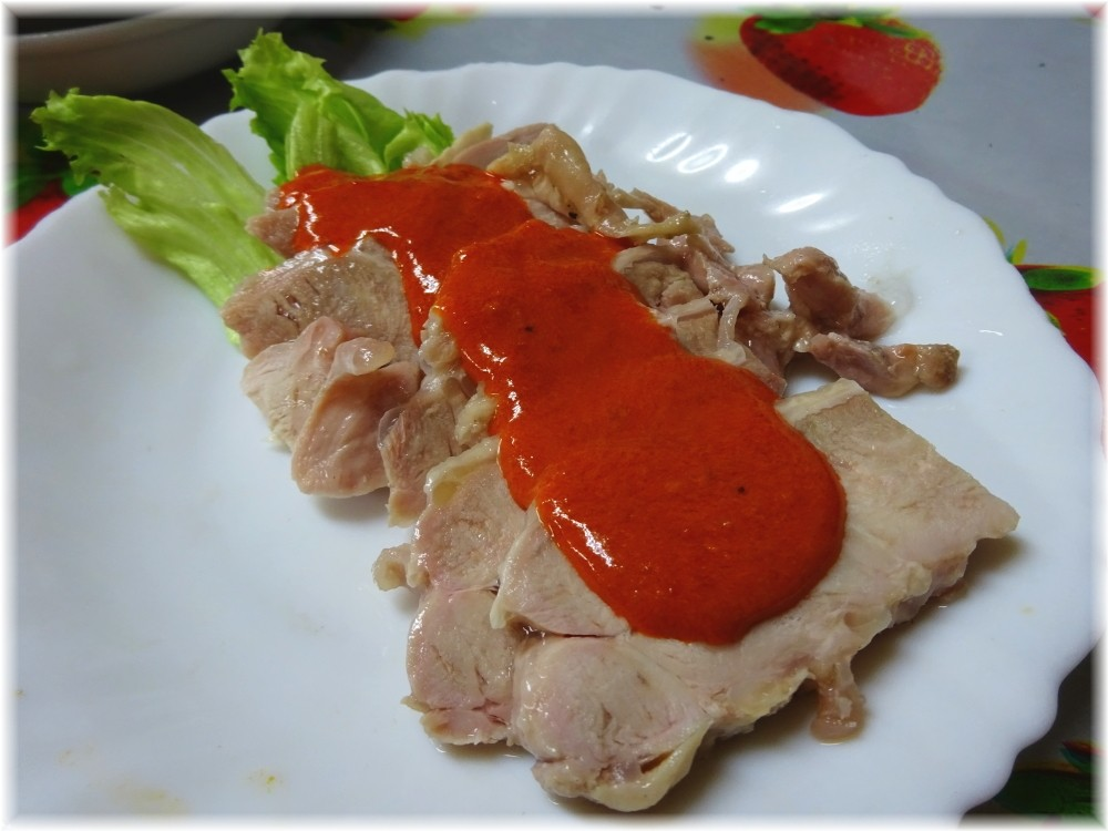 龍王 鶏の豆板醤の和え物