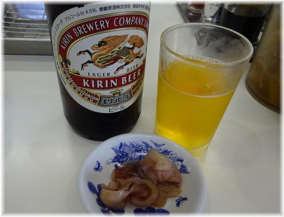 住吉亭2 天ぷらのひらおのビールとイカの塩辛