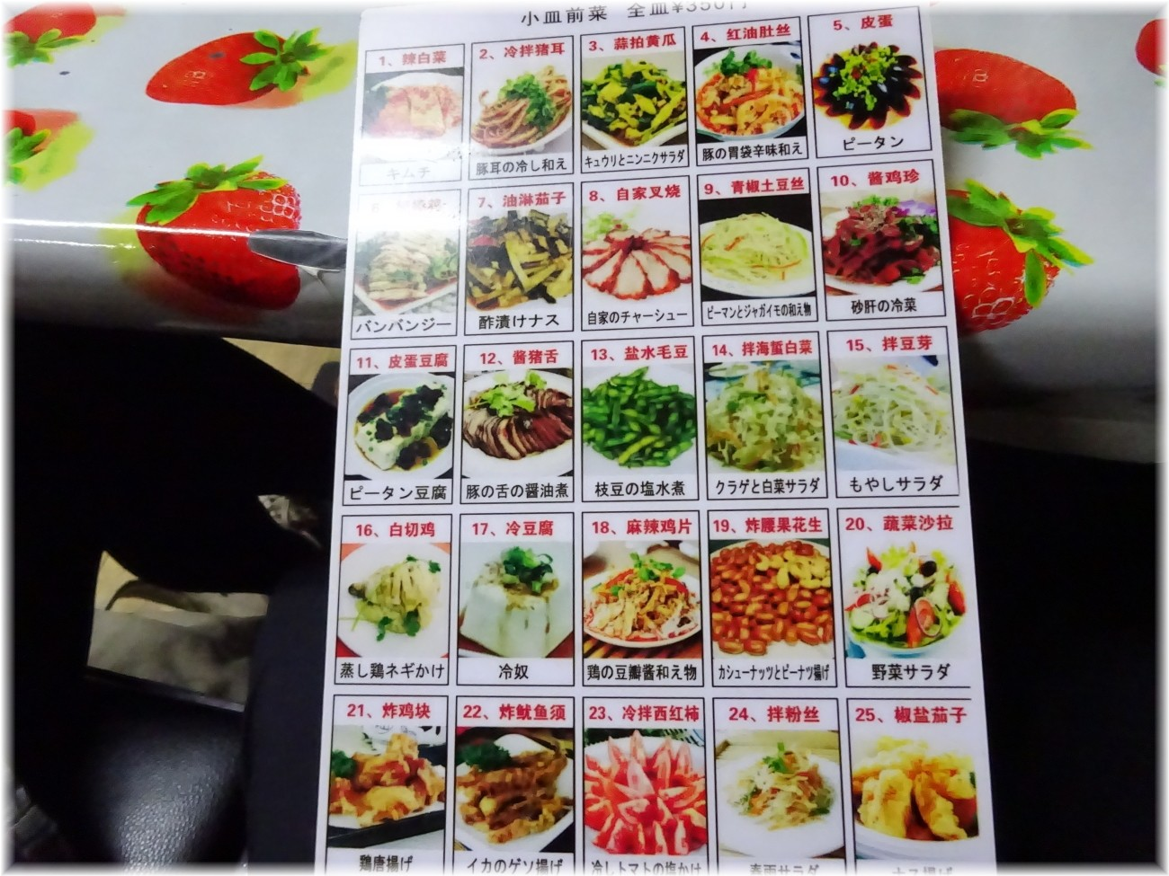 龍王 小皿料理メニュー