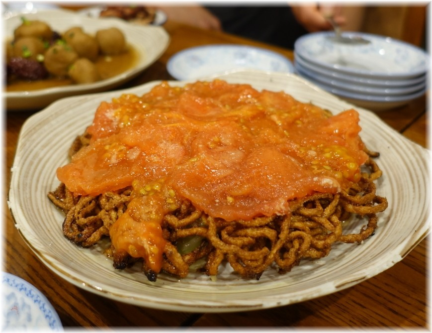 中華料理帆 海老とトマトの両面焼きそば2