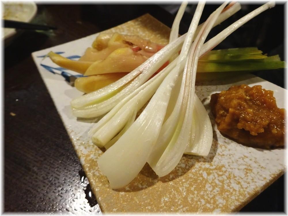 金町製麺7 谷中生姜とエシャレットの味噌ダレ添え
