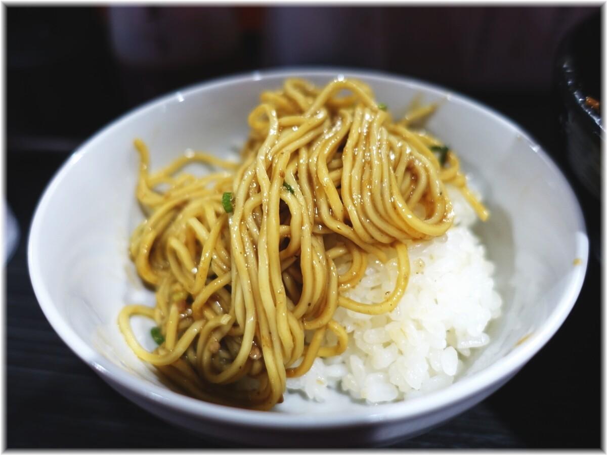 きさく五反田店 汁なし担担麺(並)に温泉たまごの麺3