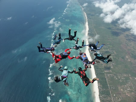 Skydive Formation Diani Beach