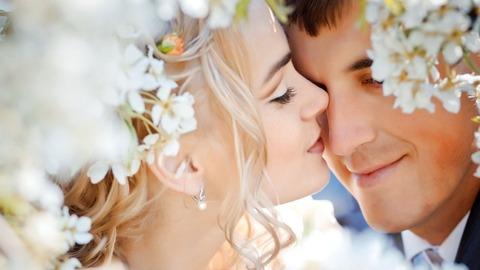 結婚式のカップル、愛、情緒花-720x1280