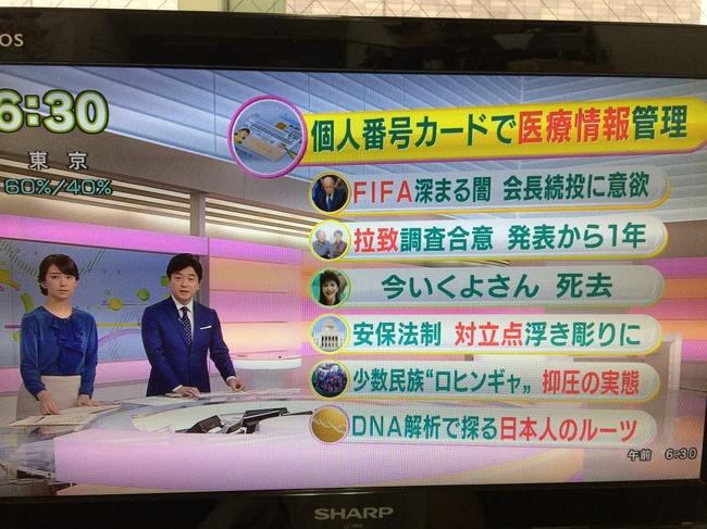 NHK朝ニュース2015年5月29日