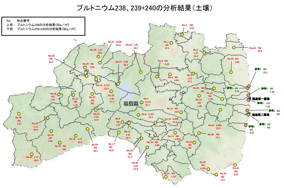 58 ※クリックで拡大 この地図には、1つの地点ごとに、数値が記されています... プルトニウム