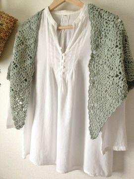 パイナップル編みの三角ショール春色グリーン3
