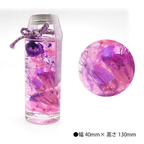 (650px)ハーバリウム瑠璃色金魚と花菖蒲モデル_商品画像