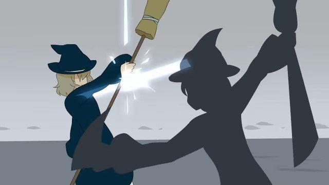 目まぐるしく壮絶なバトルが凄い、影と戦う魔女の自主制作アニメーション 影と魔女