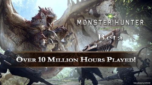 【朗報】モンハンワールド、βテストが合計1000万時間以上プレイされていた事が判明!!