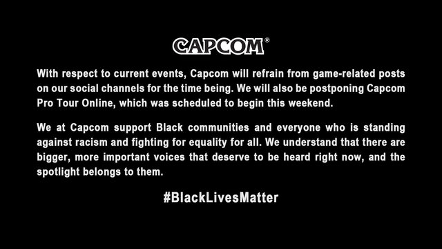【速報】カプコンもblack lives matter運動を支持 プロツアーは延期へ