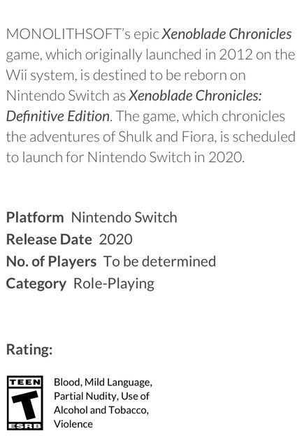 【速報】Switch「ゼノブレイド Definitive Edition」、アメリカのレーティングESRBを通過!発売間近か