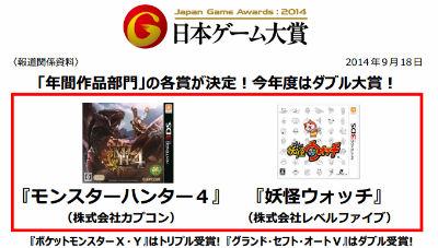 日本ゲーム大賞が発表! 大賞は「モンスターハンター4」と「妖怪ウォッチ」! 優秀賞に「艦これ」「GTAV」「ラスアス」など 特別賞に「ソリティ馬」!
