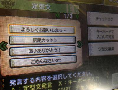 3DS「モンスターハンター4G」 定型文間違えた時恥ずかしいよなwww