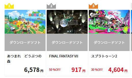 【謎】セール中とはいえ任天堂DL人気ランキング2位にFF7が入っている理由