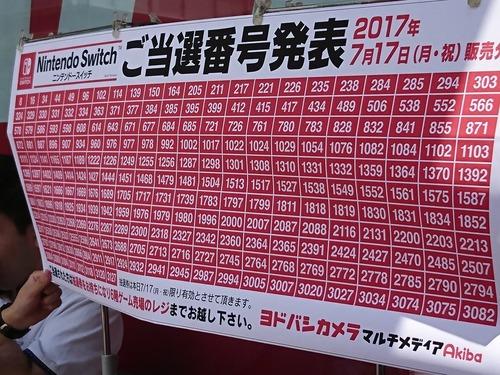 【驚愕】SwitchのヨドバシAkibaの行列、3127人以上が並んでいたことが判明!抽選結果貼り出しはまるで合格発表wwww