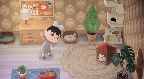 【画像】「あつ森」の「かさ」マイデザインを使ったトリックアートが凄い! お部屋の中にどう見てもネコちゃんwww
