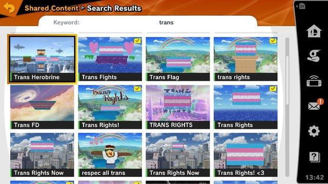 """【英断】任天堂、スマブラのステージ作りで""""トランスジェンダーの三色旗""""を「政治的」と削除"""