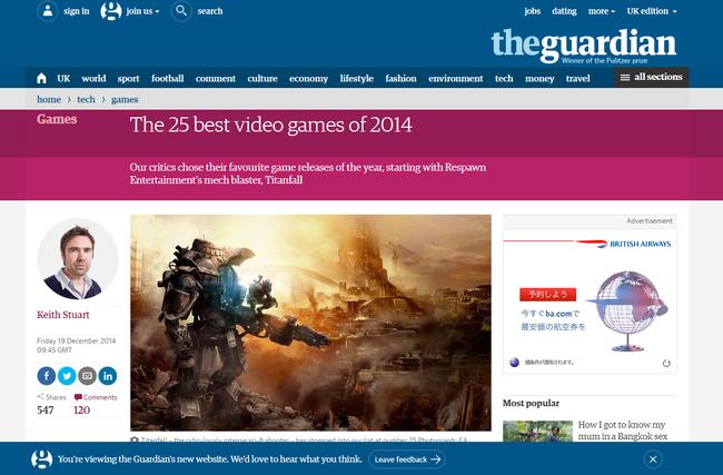 TheGuardian(英国の大手新聞社)が選ぶ2014年のベストゲーム25