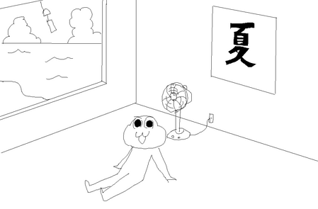 夏っぽい壁紙を描いた-001