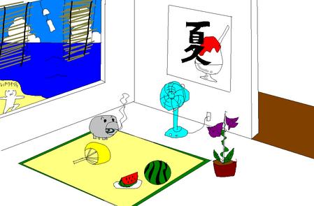 夏っぽい壁紙を描いた-020
