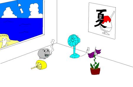 夏っぽい壁紙を描いた-015