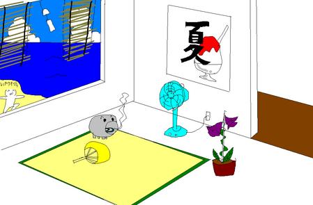 夏っぽい壁紙を描いた-017
