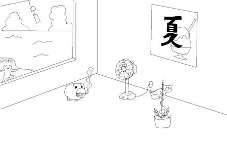 夏っぽい壁紙を描いた-010
