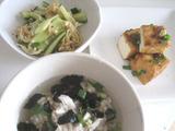 姫ごはん鶏飯と厚揚げの揚げ出し豆腐風、きゅうりと切干大根の中華風