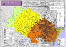 長町−利府断層の地震による想定震度分布図