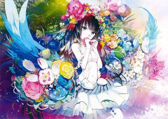 二次元 - 【2次】花と一緒に描かれている可愛い女の子の二次画像 その3【非エロ】