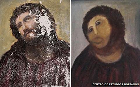 フレスコ画をとんでもない絵に修復したおばあさんの展覧会を開くことに