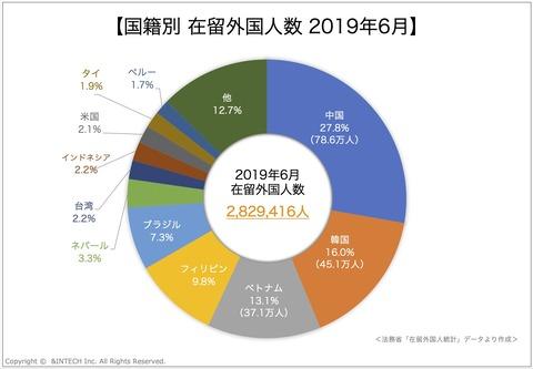 国籍別在留外国人数 2019年6月