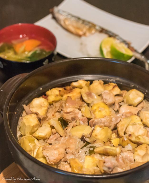 栗と鶏の土鍋おこわ