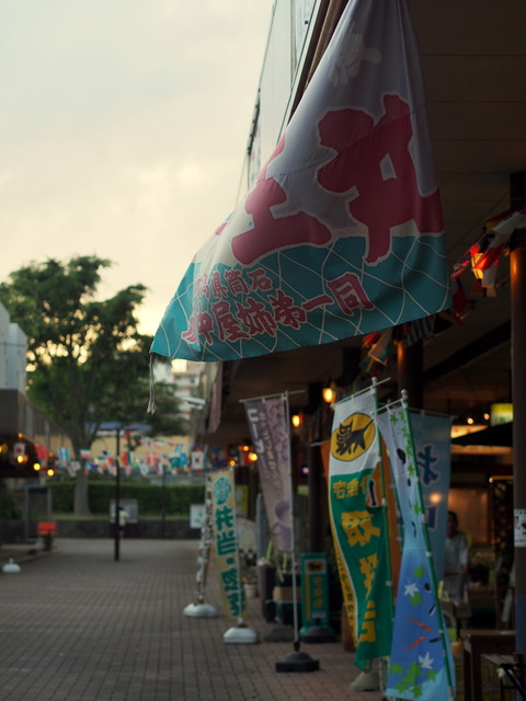 夕暮れ時の芝山団地商店街