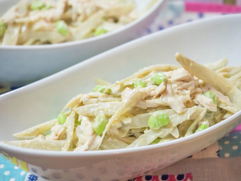 鶏肉とごぼう、枝豆のサラダ