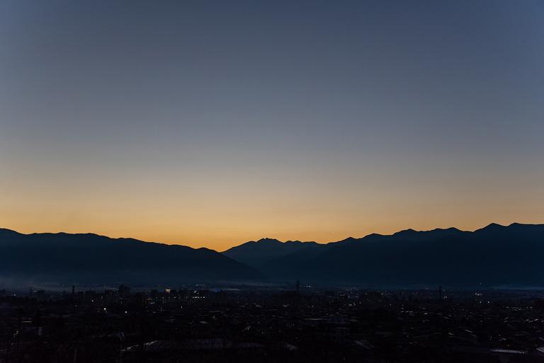 長野県松本市観光_36北アルプスの夕焼け