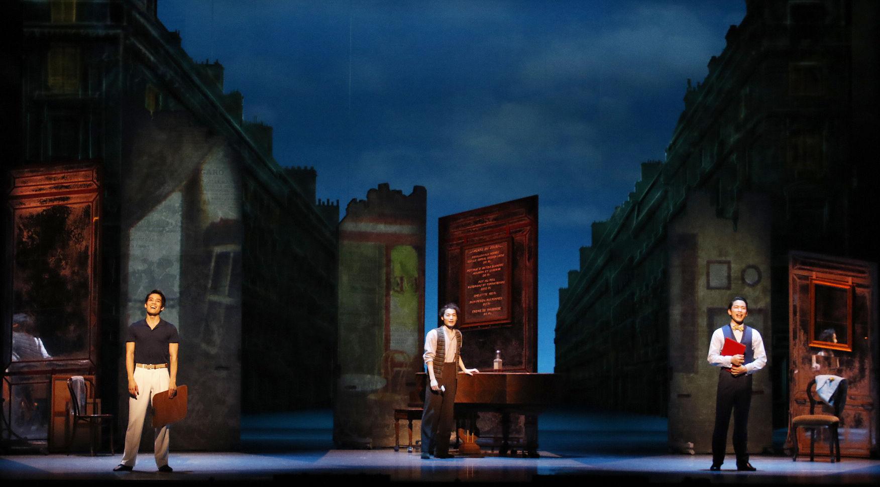 劇団四季『パリのアメリカ人』(左から酒井、斎藤、小林)